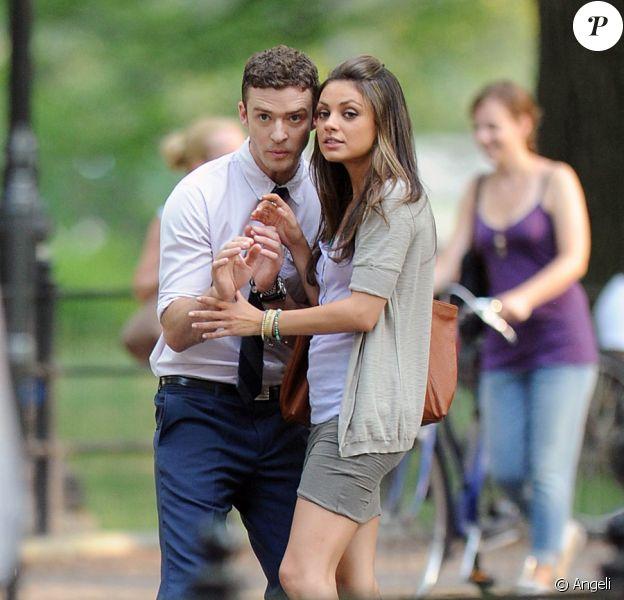 Justin Timberlake et Mila Kunis sur le tournage de Friends with Benefits à New York le 21 juillet 2010