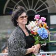 Anny Duperey, la mère de ses enfants, lors des obsèques de Bernard Giraudeau, le 23 juillet 2010, en l'église Saint-Eustache, à Paris.