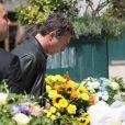 Bruno Wolkowitch lors des obsèques de Bernard Giraudeau, le 23 juillet 2010, en l'église Saint-Eustache, à Paris.