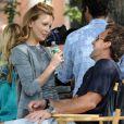 Katie Cassidy et son petit ami sur le tournage de Gossip Girl à New york, le 26 août 2010