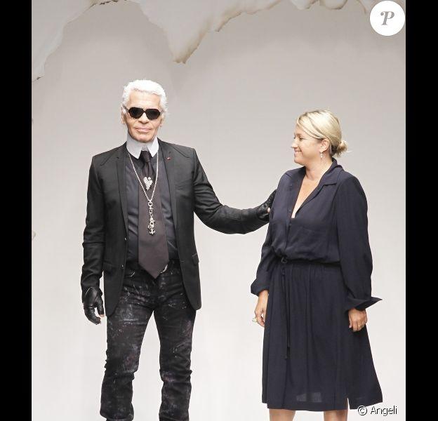 Karl Lagerfeld au défilé Fendi à Milan le 23 sepembre 2010