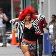 Rihanna sur le tournage de son dernier clip What's my name dans le quartier du East Village à New York le 26 septembre 2010