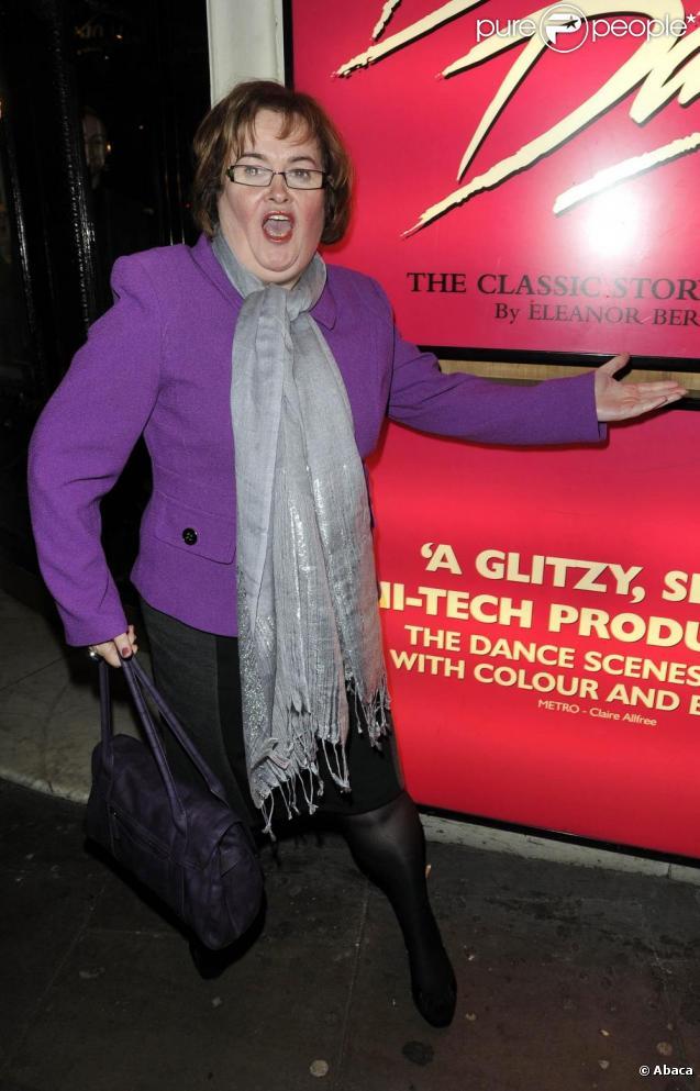 Susan Boyle assiste à une représentation du spectacle  Dirty Dancing , samedi 20 novembre, à l'Aldwych Theatre de Londres.