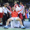 Ici les serbes. L'Equipe de France de tennis a perdu en finale de la Coupe Davis contre la Serbie, le 5 décembre 2010