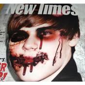 Justin Bieber : Défiguré et le visage en sang en couverture d'un magazine !