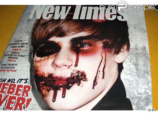Justin Bieber apparaît défiguré sur la couverture du magazine satyrique américain,  Miami New Times .