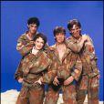 Louis Bertignac, Corinne Marrienneau, Jean-louis Aubert et Richard Kolinka... Le groupe Téléphone en 1982