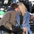 Andrew Garfield et Emma Stone sur le tournage de  The Amazing Spider-Man.