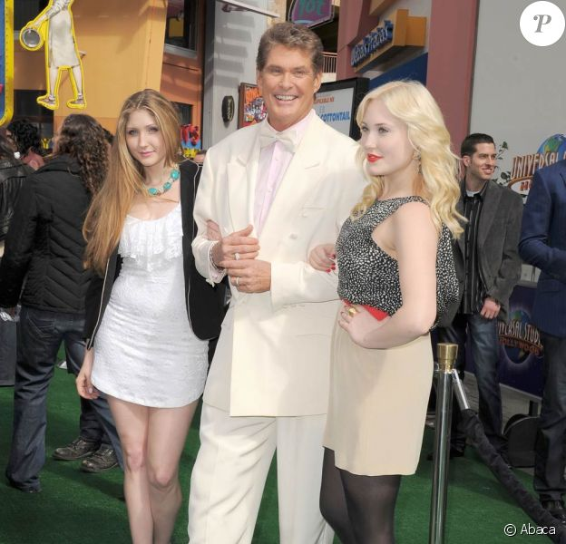 David Hasselhoff et ses filles Taylor-Ann et Hayley à l'occasion de l'avant-première de Hop qui s'est tenue aux Studios Universal à Universal City, à Los Angeles, le 27 mars 2011.