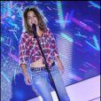 Aylin Prandi durant l'enregistrement de l'émission Vivement Dimanche spéciale Italie diffusée le 1er mai le 27 avril 2011