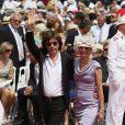 Jean-Michel Jarre et sa fille Emilie arrivent à la cérémonie religieuse du mariage du prince Albert et de Charlene Wittstock, à Monaco, le 2 juillet 2011