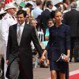 Karolina Kurkova et son époux arrivent à la cérémonie religieuse du mariage du prince Albert et de Charlene Wittstock, à Monaco, le 2 juillet 2011