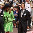 Le tennisman Jonas Bjorkman et sa femme Petra arrivent à la cérémonie religieuse du mariage du prince Albert et de  Charlene Wittstock, à Monaco, le 2 juillet 2011