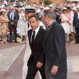 Nicolas Sarkozy arrive à la cérémonie religieuse du mariage du prince Albert et de  Charlene Wittstock, à Monaco, le 2 juillet 2011