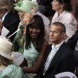 Naomi campbell et Vladimir Doroni attendent le début de la  cérémonie religieuse du mariage du prince Albert et de  Charlene Wittstock, à Monaco, le 2 juillet 2011
