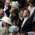 Naomi Campbell et Vladimir Doronin attendent le début de la cérémonie religieuse du mariage du prince Albert et de  Charlene Wittstock, à Monaco, le 2 juillet 2011