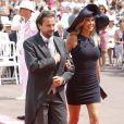 Henri Leconte et sa femme Florentine arrivent dans la cour d'honneur du Palais princier où se déroule la cérémonie de mariage du Prince Albert avec Charlene Wittstock, le 2 juillet 2011 à Monaco