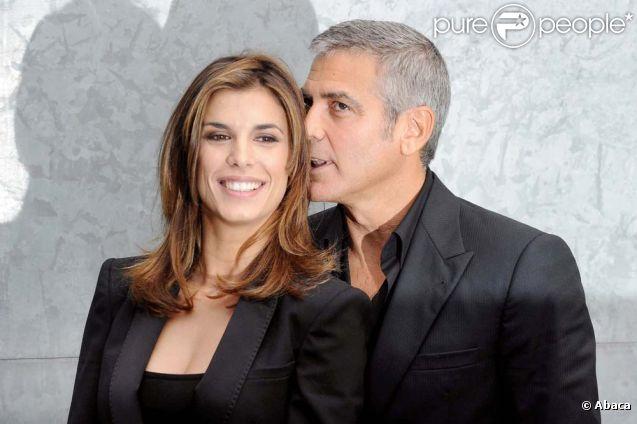 Elisabetta Canalis et George Clooney, à Milan, le 27 septembre 2010.