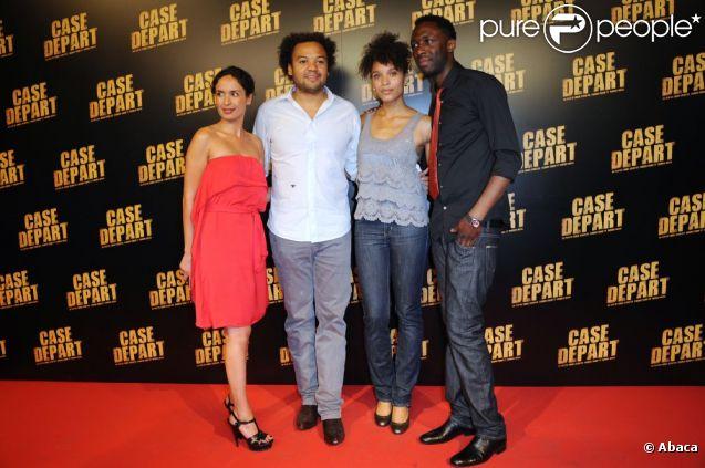 Amelle Chahbi, Fabrice Eboué, Stefi Celma et Thomas Ngijol lors de l'avant-première de Case Départ, le 5 juillet 2011 à Paris