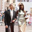 Naomi Campbell a assisté au mariage d'Albert de Monaco et de Charlene Wittstock aux bras de son amoureux depuis 3 ans, Vladimir Doronin. Monaco, 2 juillet 2011