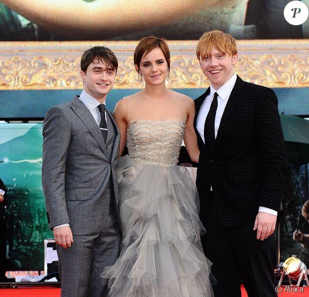 Daniel Radcliffe, Emma Watson et Rupert Grint à Londres le 7 juillet 2011 pour l'avant-première de Harry Potter et les Reliques de la mort - partie II
