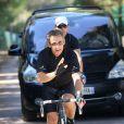 Nicolas Sarkozy en excursion à vélo, le 18 juillet 2011.