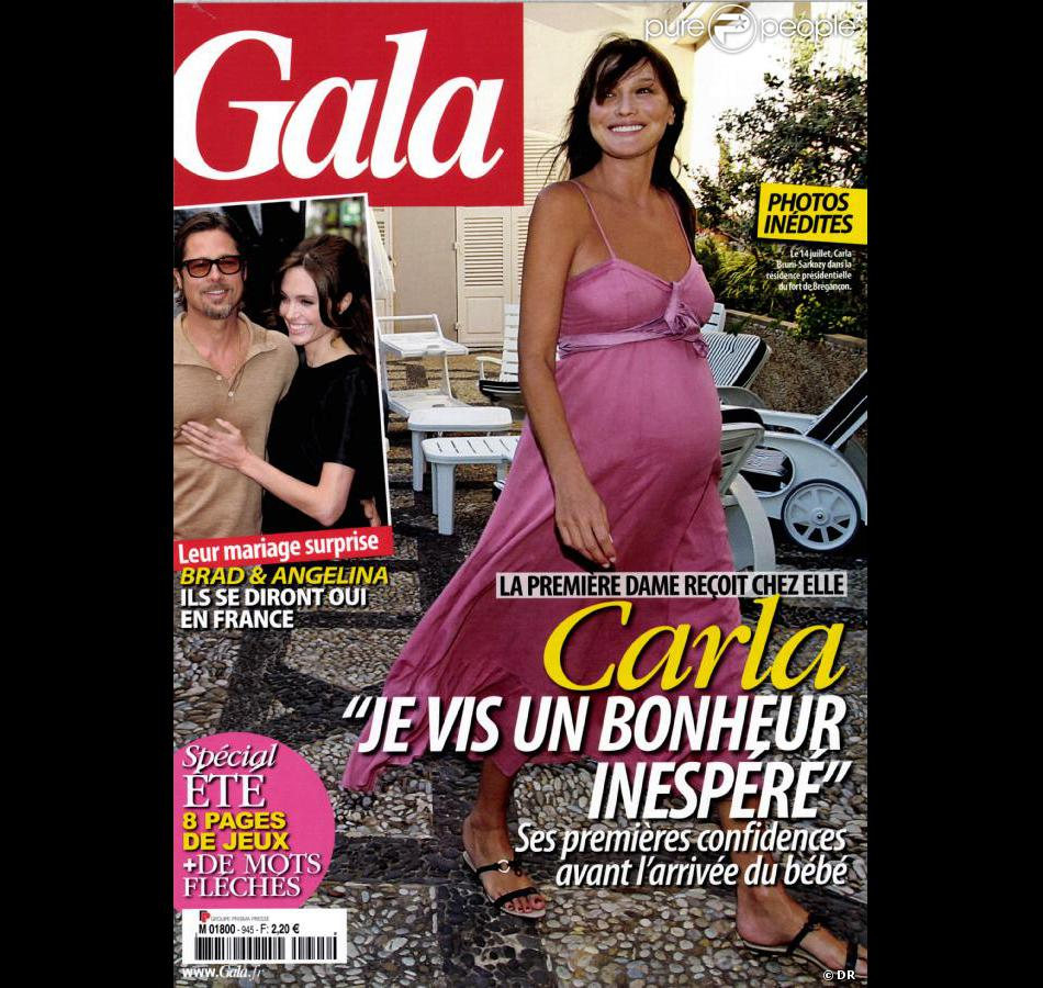 carla bruni sarkozy en couverture du magazine gala en. Black Bedroom Furniture Sets. Home Design Ideas