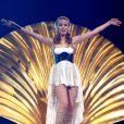 Kylie Minogue, sur scène à New York lors de sa tournée  Aphrodite Les Folies Tour . Le 2 mai 2011.