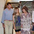 Felipe, Letizia et la reine Sofia d'Espagne au club nautique de Majorque. Le 4 août 2011