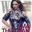 L'actrice et ancien mannequin Uma Thurman en couv' du magazine américain W. Octobre 2009.