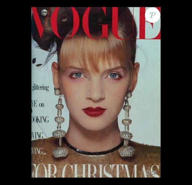 Voici la toute première couv' d'Uma Thurman. A seulement 15 ans, pour le Vogue britannique. Décembre 1985.