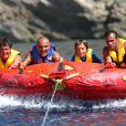 Christian Audigier le 15 août 2011 à Ibiza en vacances avec ses amis, ses fils et sa compagne