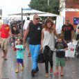 Christian Audigier, ses fils et sa compagne Nathalie Sorensen en vacances à Ibiza le 25 août 2011