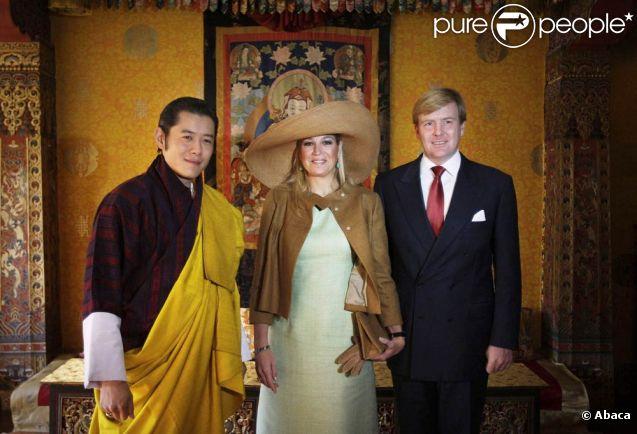 Le roi Jigme Khesar du Bhoutan lors de la visite officielle du prince Willem-Alexander et de la princesse Maxima des Pays-Bas en octobre 2007.