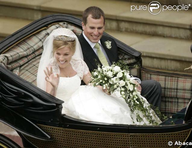 La famille royale au grand complet pour Peter Phillips et Antumn Kelly : ici le marié et son épouse Antumn Kelly