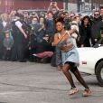 Rihanna en plein tournage de son nouveau clip We Found Love, à Belfast le 27 septembre 2011