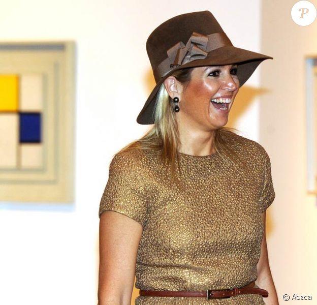 La princesse Maxima des Pays-Bas à Rome pour l'inauguration de l'exposition Mondrian, L'Armonia Perfetta, le 6 octobre 2011.