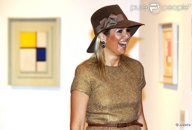 La princesse Maxima des Pays-Bas à Rome pour l'inauguration de l'exposition Mondrian,  L'Armonia Perfetta , le 6 octobre 2011.