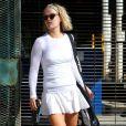 Ali Larter sort d'un cours de tennis avec son mari Hayes MacArthur. Los Angeles le 6 octobre 2011