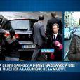 Le président Nicolas Sarkozy est arrivé ce jeudi matin à la clinique de La Muette, dans le XVI arrondissement de Paris, où son épouse Carla a donné naissance la veille à une petite fille. Le président y avait déjà passé une partie de la soirée de mercredi.