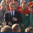 Nicolas Sarkozy parle de sa fille, née le 19 octobre. Il est en visite en Mayenne, le 20 octobre 2011.