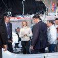 Alexandra Lamy et David Douillet sont venus encourager les skippers de la Transat Jacques Vabre le 29 octobre 2011 au Port du Havre