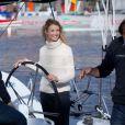 Alexandra Lamy, marraine de charme pour le monocoque Mirabaud qui participera à la Transat Jacques Vabre le 29 octobre 2011 au Port du Havre