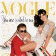 Elizabeth Hurley et Elton John fêtent la fin de l'année 2002 avec le magazine Vogue UK. Décembre 2002.