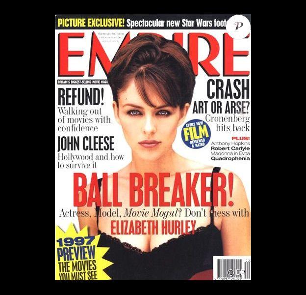 L'actrice et model Elizabeth Hurley, en Une du magazine Empire. Février 1997.