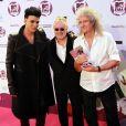 Adam Lambert, Roger Taylor et Brian May de Queen dans la press room des MTV Europe Music Awards, à Belfast, le 6 novembre 2011.