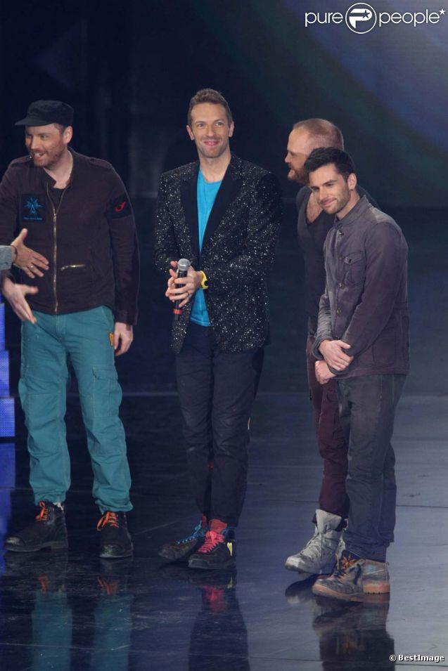 Coldplay sur le plateau de l'émission  Il più grande spettacolo dopo il weekend , à Rome, le 21 novembre 2011.