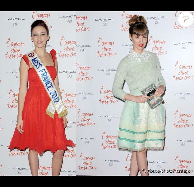 Delphine Wespiser et Louise Bourgoin lors de l'avant-première du film L'amour dure trois ans à Paris le 7 janvier 2012 (photomontage)