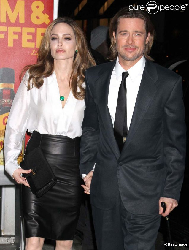 Brad Pitt et Angelina Jolie au New York Film Critics Circle Awards, le 9 janvier 2012.