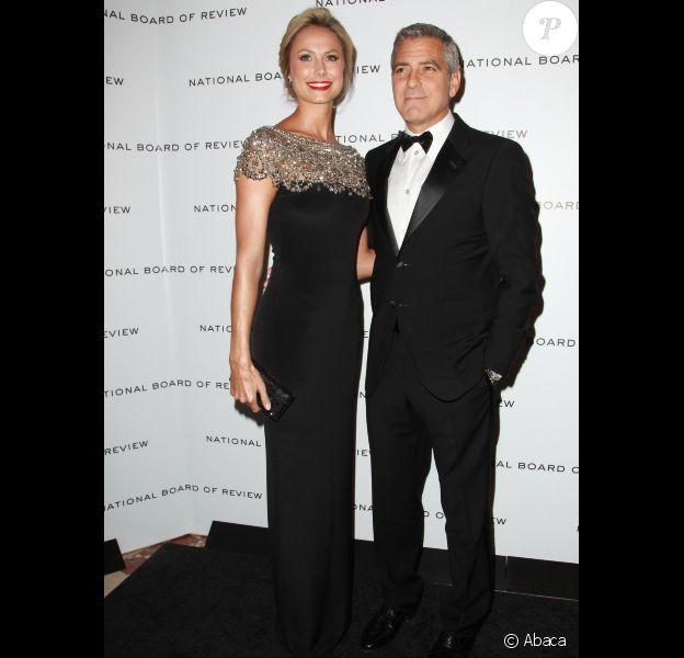George Clooney et Stacy Keibler à New York, le 10 janvier 2012.